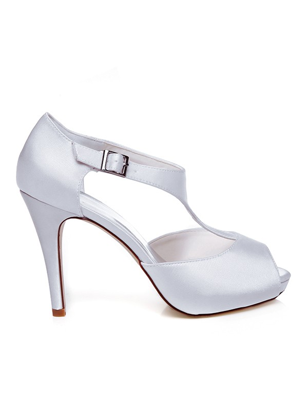 Beautiful Women Satin Peep Toe Buckle Stiletto Heel Wedding Shoes