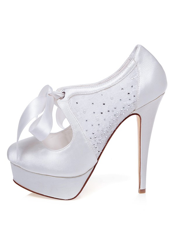 Beautiful Women Satin Closed Toe Stiletto Heel Silk Wedding Shoes