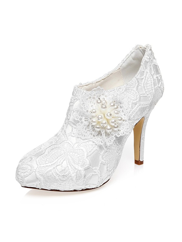 Beautiful Women Satin Closed Toe Stiletto Heel Flower Wedding Shoes