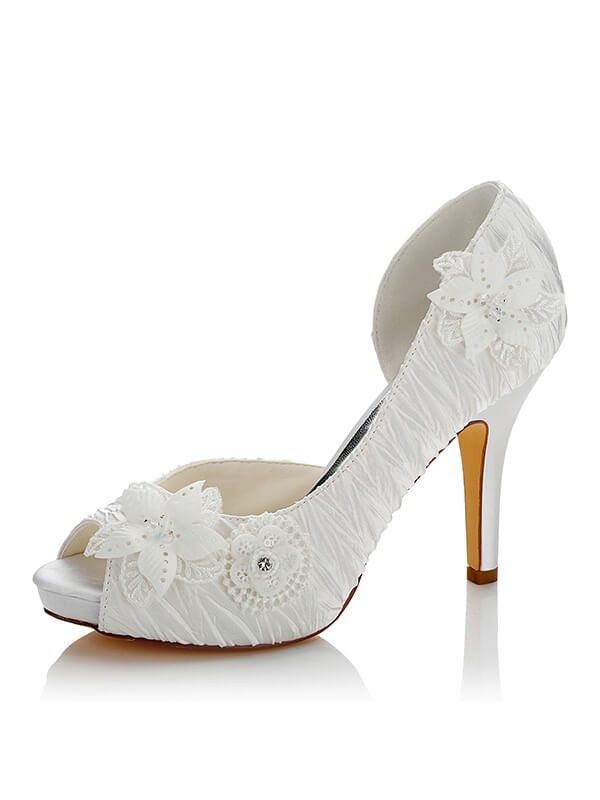 Comfortable Women Satin PU Peep Toe Stiletto Heel Wedding Shoes