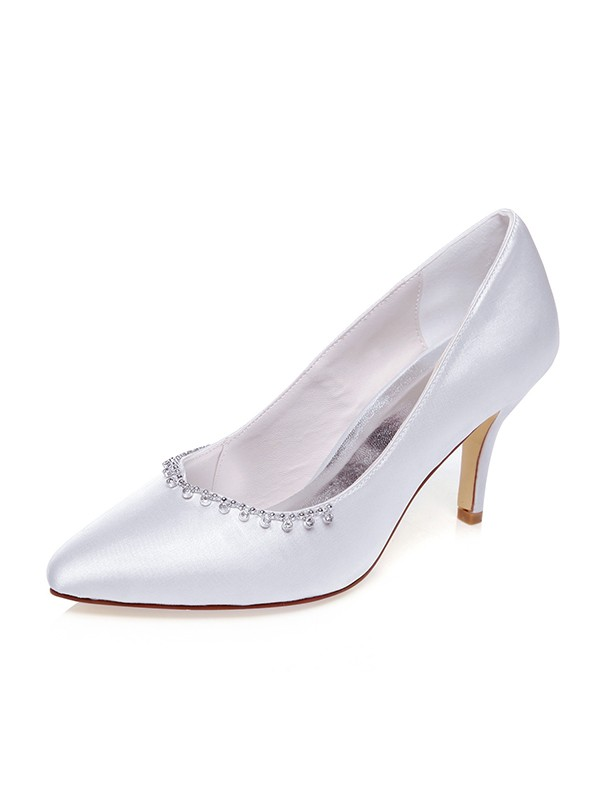 Beautiful Women Satin Closed Toe Stiletto Heel Wedding Shoes