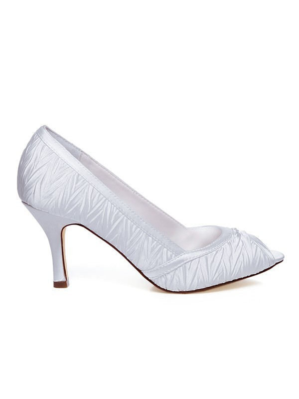 Beautiful Women Satin Spool Heel Wedding Shoes