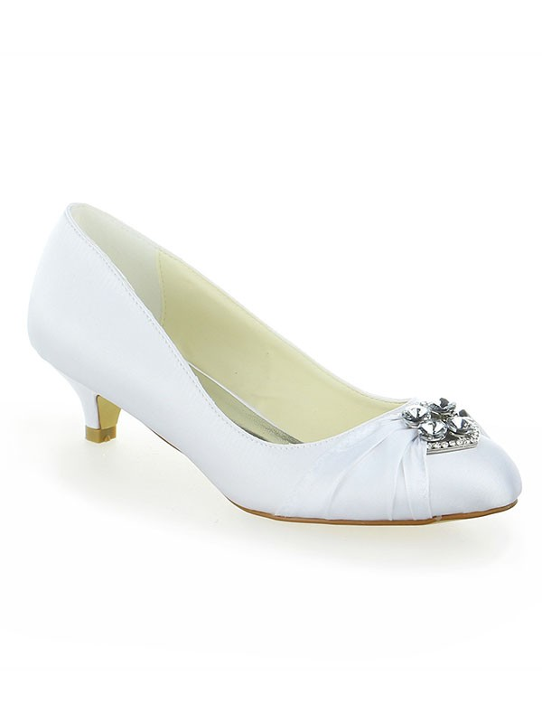 Classical Women Satin Lace Platform Closed Toe Kitten Heel White Wedding Shoes