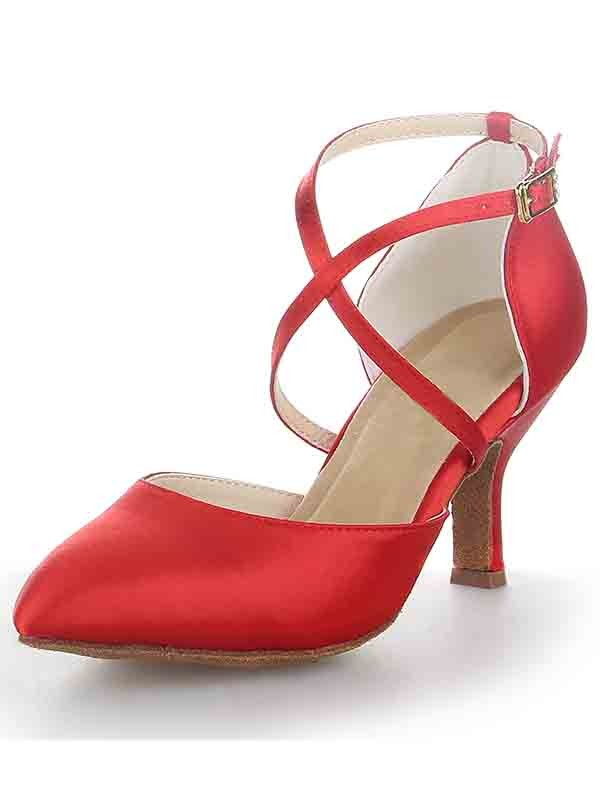Stylish Women Spool Heel Satin Closed Toe Buckle Sandal High Heels
