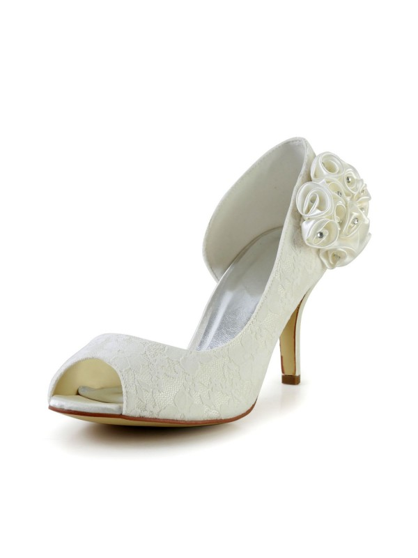 Exquisite Women Stiletto Heel Satin Ivory Wedding Shoes Flower