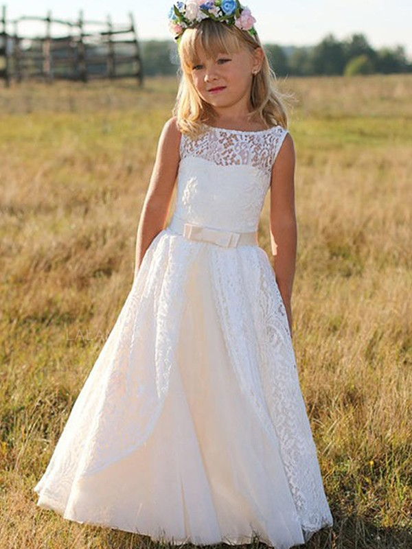 76bad442d7 Fashion A-Line Sleeveless Scoop Floor-Length Lace Flower Girl Dress ...