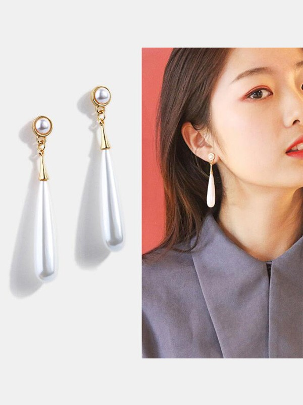 New Hot Sale Alloy With Pearl Long Earrings