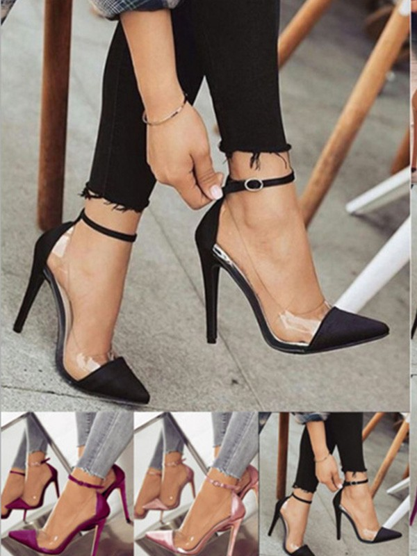 New Women Girls PU Stiletto Heel Closed Toe High Heels