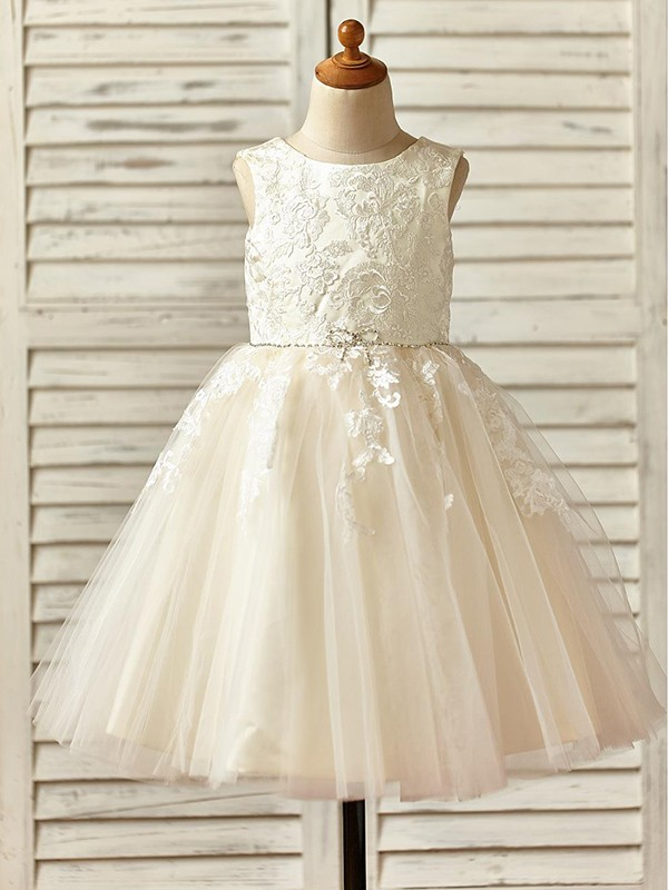 Charming A-Line Knee-Length Scoop Lace Sleeveless Tulle Flower Girl Dress