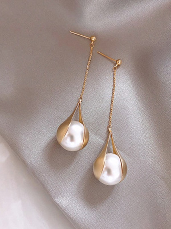 New Hot Sale Sterling Silver With Pearl Long Earrings