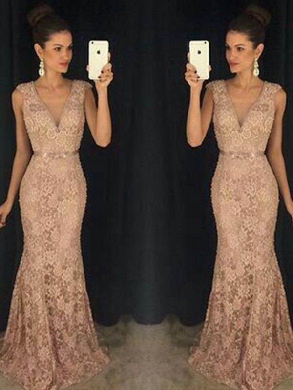 Gorgeous Mermaid V-neck Sleeveless Lace Sweep/Brush Train Dress
