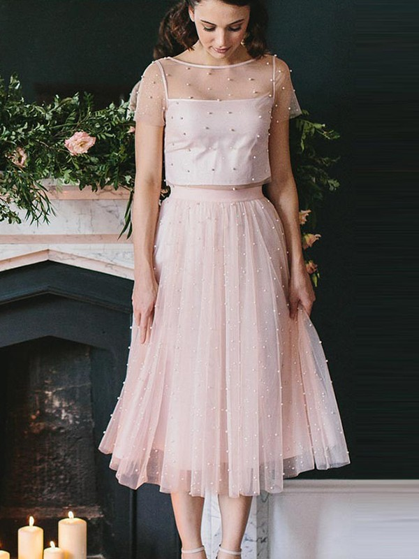 Exquisite A-Line Tulle Short Sleeves Scoop Tea-Length Two Piece Dress