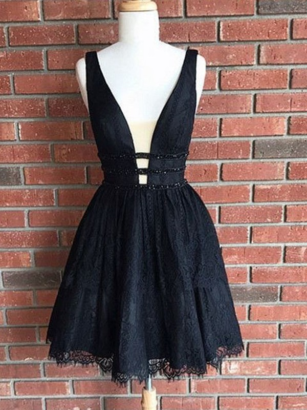 Stylish A-Line V-Neck Lace Sleeveless Short/Mini Dress