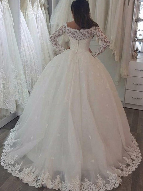 New Ball Gown Long Sleeves Off-the-Shoulder Sweep/Brush Train Lace Wedding Dress