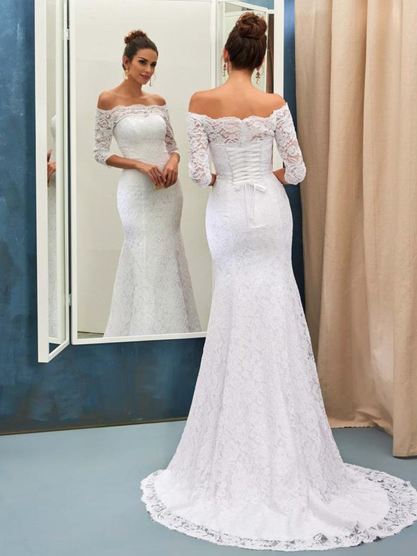 Glamorous Mermaid Off-the-Shoulder 1/2 Sleeves Lace Sweep/Brush Train Wedding Dress