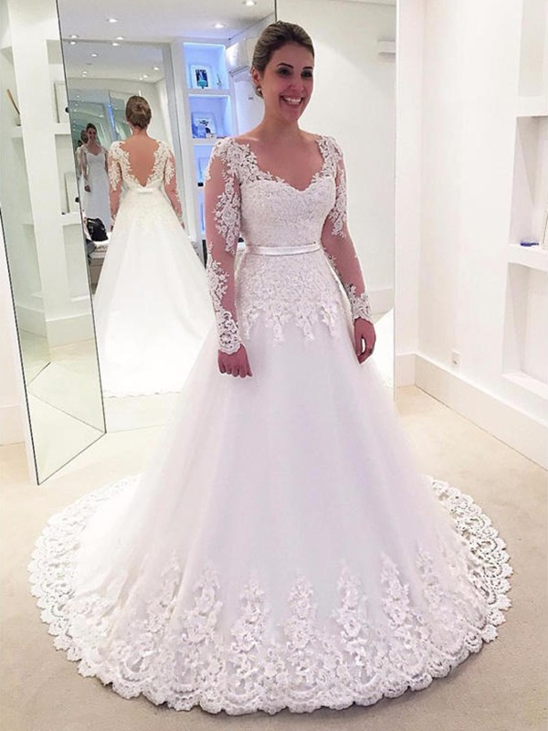 Affordable A-Line V-neck Lace Long Sleeves Tulle Sweep/Brush Train Wedding Dress