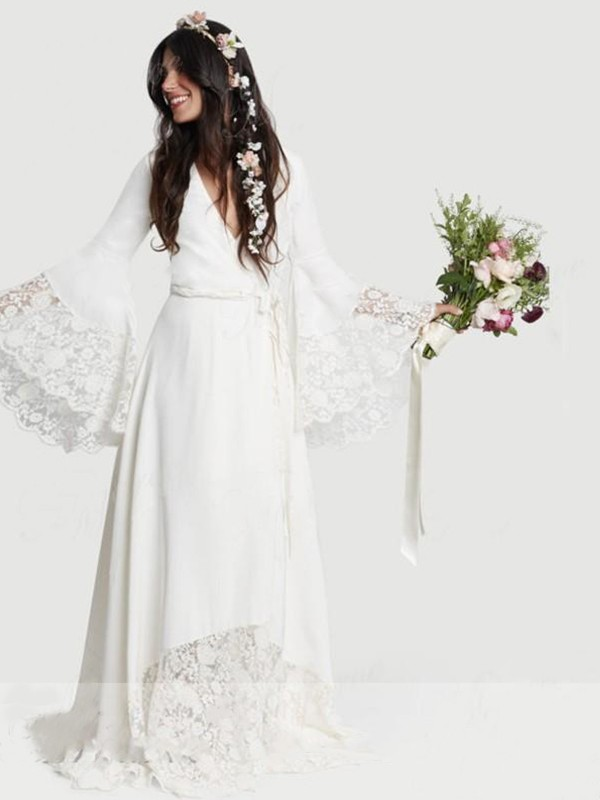 Exquisite A-Line V-neck Lace Chiffon Long Sleeves Sweep/Brush Train Wedding Dress