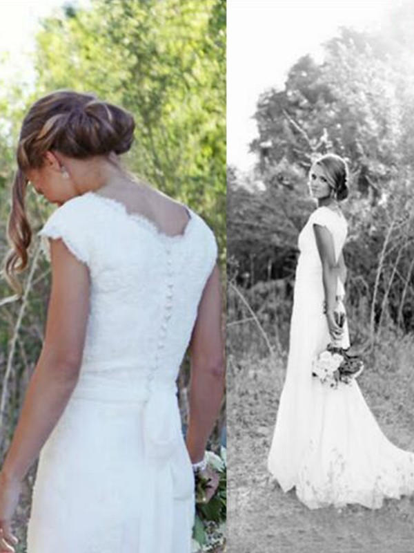 Perfect A-Line Tulle Lace V-neck Sleeveless Sweep/Brush Train Wedding Dress