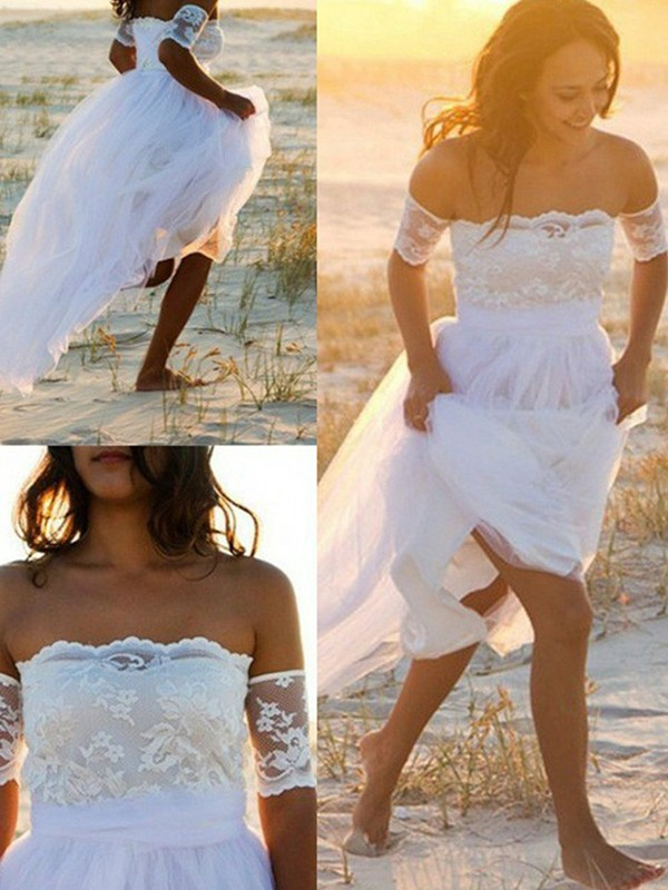 Fashion A-Line Chiffon Sleeveless Off-the-Shoulder Lace Floor-Length Wedding Dress