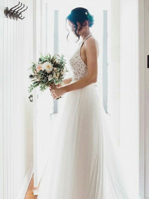 Beautiful A-Line Lace Tulle Sleeveless Halter Floor-Length Wedding Dress