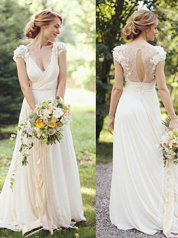 Discount A-Line Chiffon V-neck Short Sleeves Sweep/Brush Train Wedding Dress