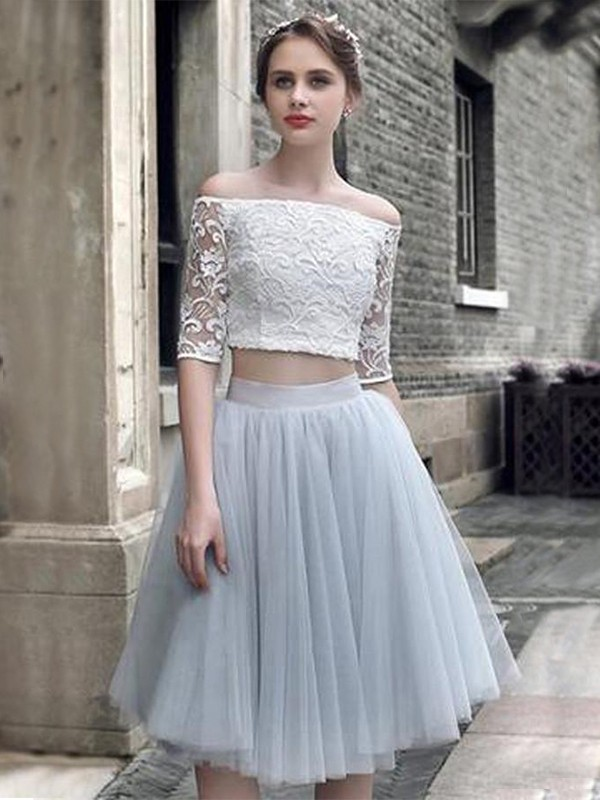 Amazing A-Line Tulle Off-the-Shoulder Knee-Length Two Piece Dress