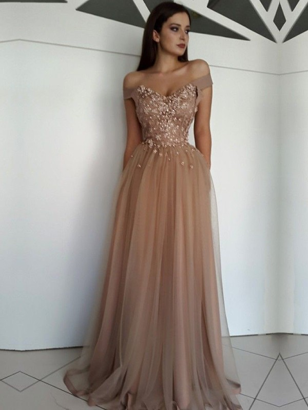 Exquisite A-Line Sleeveless Off-the-Shoulder Floor-Length Tulle Dress