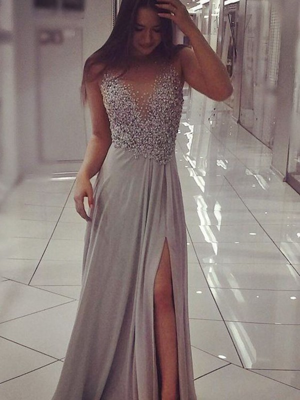 Stunning A-Line Sleeveless V-neck Floor-Length Chiffon Dress