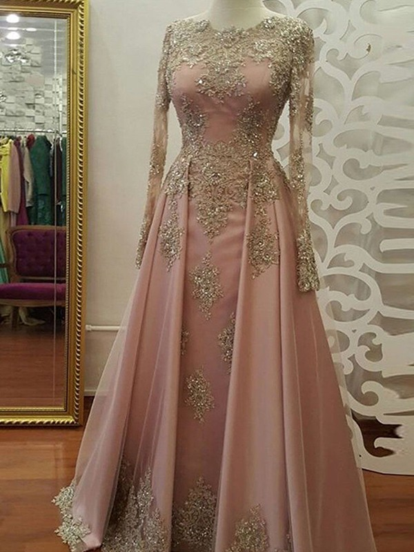 New A-Line Long Sleeves Scoop Floor-Length Tulle Muslim Dress