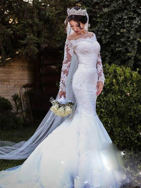 Discount Mermaid Tulle Lace Off-the-Shoulder Long Sleeves Sweep/Brush Train Wedding Dress