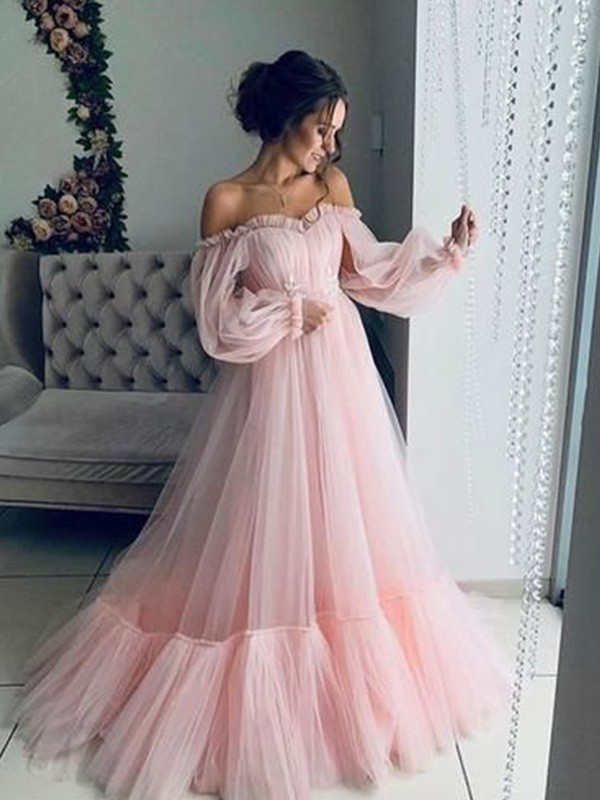 New Arrival A-Line Tulle Off-the-Shoulder Long Sleeves Sweep/Brush Train Dress