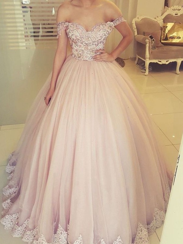 New Arrival Ball Gown Off-the-Shoulder Floor-Length Tulle Dress