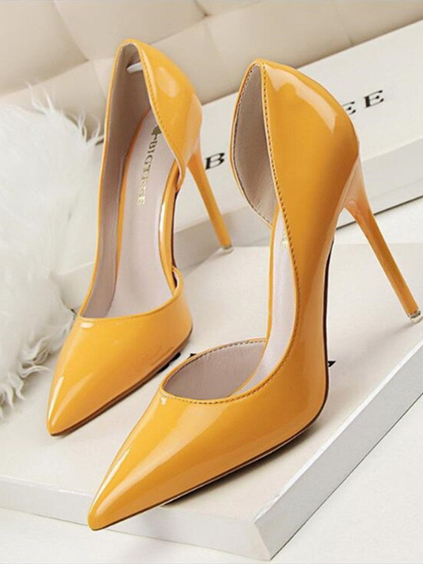 New Women Girls Stiletto Heel PU Closed Toe High Heels