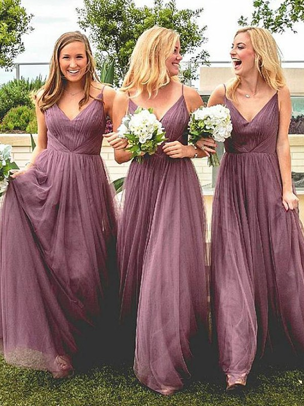 New A-Line Spaghetti Straps Sleeveless Floor-Length Tulle Bridesmaid Dress