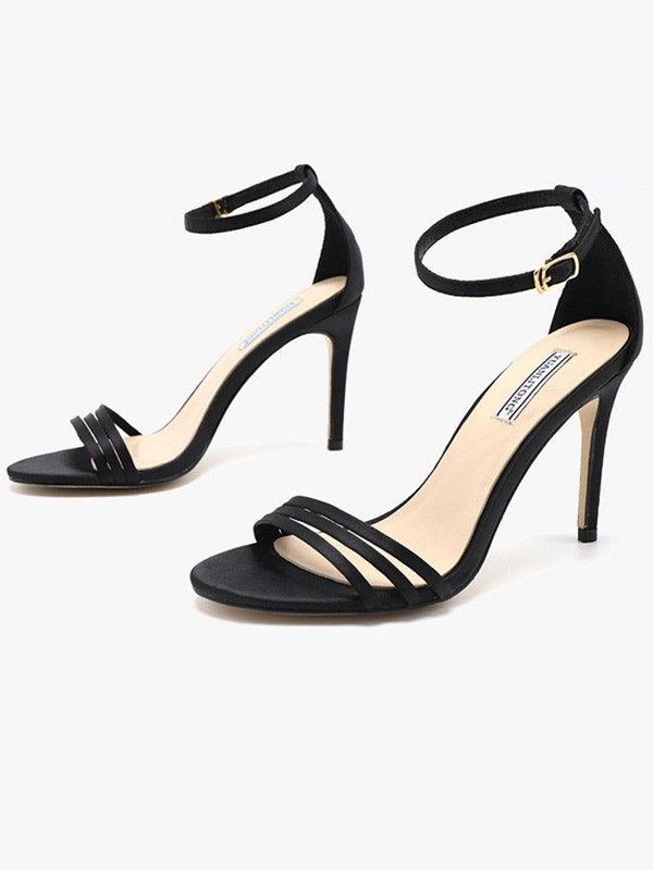 New Women Girls Silk Stiletto Heel Peep Toe Sandals