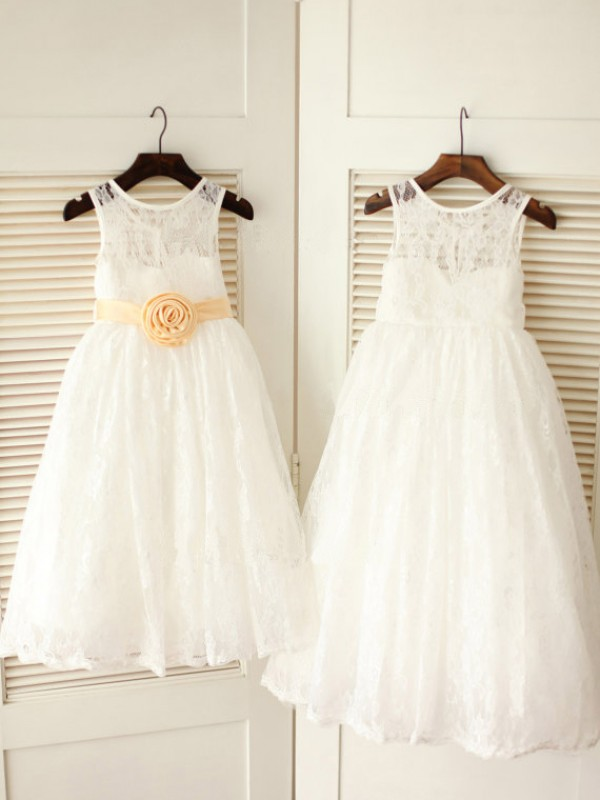 Perfect A-line Scoop Ankle-length Lace Flower Girl Dress