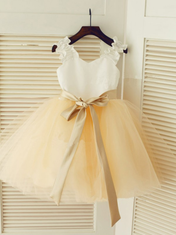Chic Straps Ball Gown Tea-length Tulle Flower Girl Dress