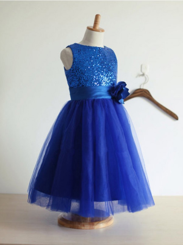 Elegant A-line Jewel Tulle Tea-Length Flower Girl Dress